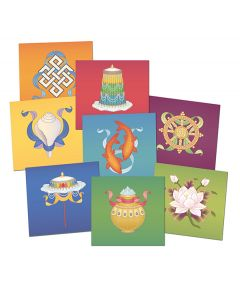The Eight Auspicious Buddhist Symbols - Embossed Postcards