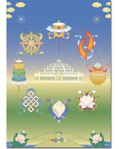 Kadampa Temple and Auspicious Symbols - A5 large card, A4 small poster