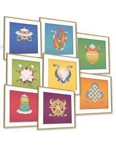 The Eight Auspicious Buddhist Symbols - Set of 8 Extra Large Postcards (SET OF 8)