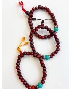 Wrist Mala - Red wood & Tourquise bead