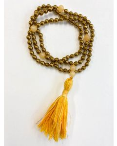 Mala 6mm Golden plate Hematite & Calcite 8mm marker beads on durable powercord