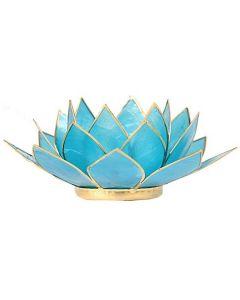 Lotus - Atmospheric light blue gold trim - 13.5cm
