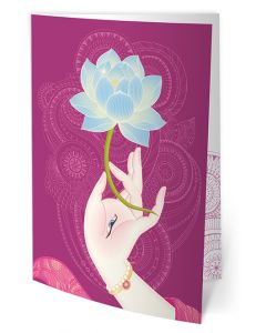 Greeting Card - White Tara - Holding an Upala Flower