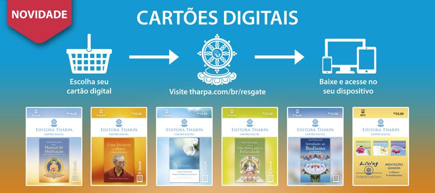 Novidade: Cartões Digitais, ótimos para presentear os produtos digitais da Tharpa!